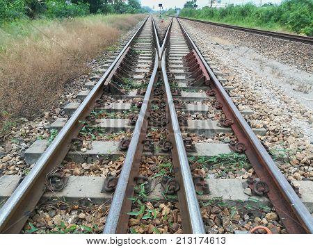 Rail transportation, the rail road track, in Thailand.