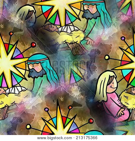 A hand drawn digitally painted seamless Christmas nativity scene.