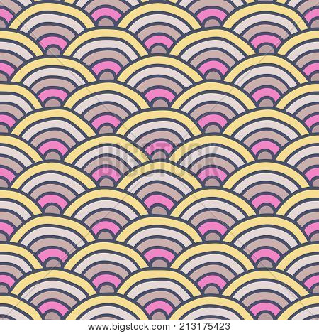 A seamless Japanese style background pattern with semi circle shapes.