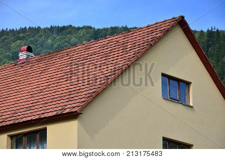 The Roof Of This Square Ceramic Tile Is Red. The Old Type Of Roof Covering In Rich Houses Of The 19T