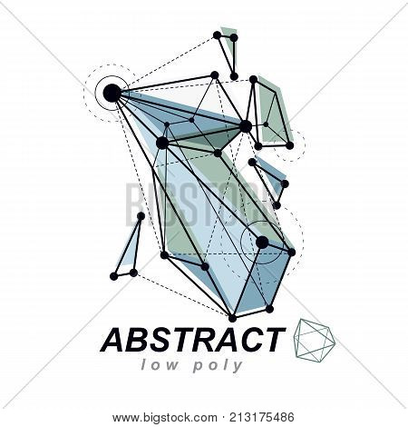 3d polygonal geometric faceted object vector abstract design element. New technology logotype.
