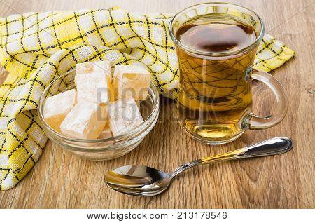 Rakhat-lukum In Bowl, Cup Of Tea, Napkin And Teaspoon