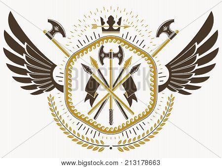 Vector illustration of old style heraldic emblem made with eagle wings hatchets and monarch crown
