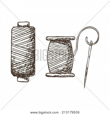 Threads and needle, sketch illustration of accessories for sewing. Vector