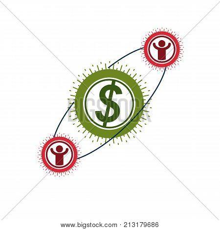 The Global Financial System conceptual logo unique vector symbol. Dollar signs circulation of money.