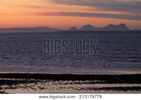 Sunset in the bay of the San Ignacio Lagoon, Baja California, Mexico, North America