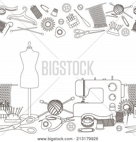 Seamless horizontal borders of tools for needlework and sewing. Handmade equipment and needlework accessoriesy, line cartoon illustration. Vector