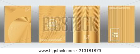 Minimal Cover. Vector Gold Geometric Abstract Line Pattern for Poster Design. Set of Minimal Covers for Business Brochures. 2d Prints for Banner Background. Graphic Pattern for Annual Album Backdrop.