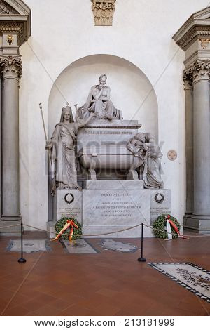 FLORENCE,ITALY - JULY 24,2017 : The cenotaph of Dante Alighieri at the Basilica of Santa Croce in Florence