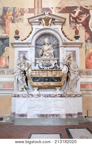 FLORENCE,ITALY - JULY 24,2017 : The tomb of Galileo Galilei at the Basilica of Santa Croce in Florence