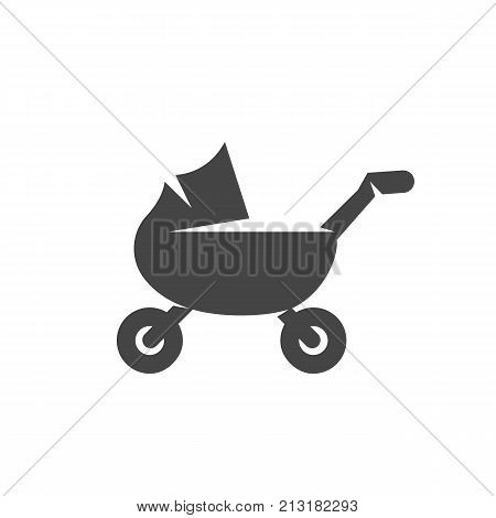 Baby carriage icon on white background. Baby carriage vector logo illustration isolated sign symbol. Modern pictogram for web graphics