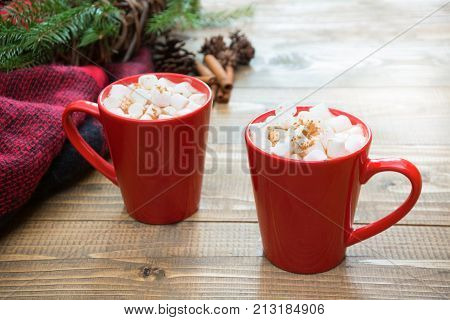 Red Cup Of Hot Chocolate With Marshmallow On Windowsill. Weekend Concept. Home Style. Christmas Time