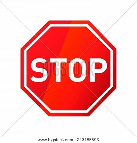 Stop red glossy road sign isolated on white