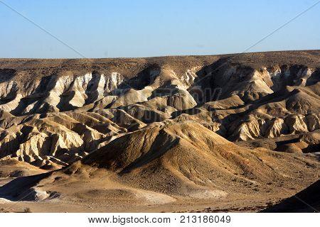 Rocky hills on Ein Avdat in Negev desert. Israel.