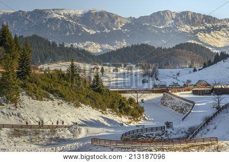 Cheile Gradistei Fundata touristic resort in winter season on December 24 2016 in Fundata Romania. The complex offers beautiful panoramas of the Bucegi mountains.