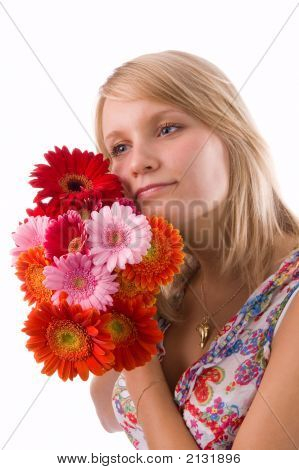 The Blonde With Flowers