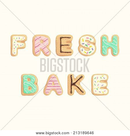 Frash Bake - inscription in the shape of sweet cookies