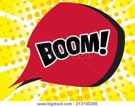 Comic boom text sound effect. Popart bubble speech cartoon background. Pop art boom effect illustration