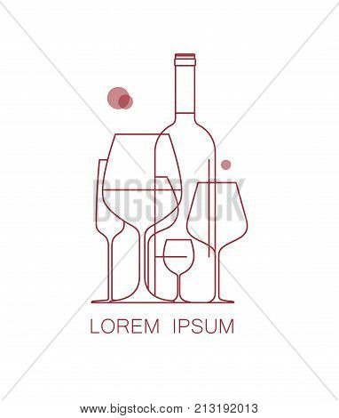Icon, logo for wine list, tasting, restaurant menu. A set of wine glasses and a bottle of wine. Modern linear style. Vector illustration.