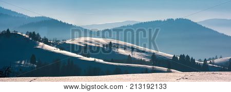 Gorgeous Winter Panorama Of Rolling Hills