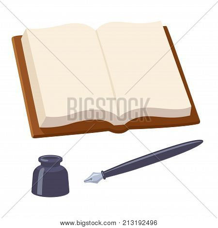 Open blank notebook with fountain pen and inkwell. Journal or diary with writing supplies isolated vector illustration.
