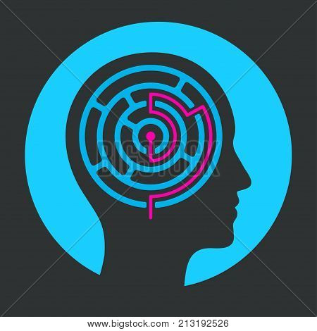Human head silhouette with maze and solution. Solving problems of mind with psychology. Vector illustration icon or logo.