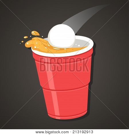 Beer pong illustration. Ping pong ball falling in red plastic cup with splashing beer. Classic party drinking game clip art.