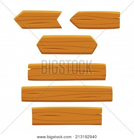 Wooden planks set vector illustration isolated on white background. Cartoon wood texture for signs and arrows.