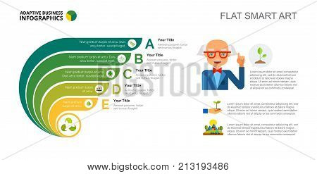 Five points process chart slide template. Business data. Option, diagram, design. Creative concept for infographic, project. Can be used for topics like planning, botany, agriculture.