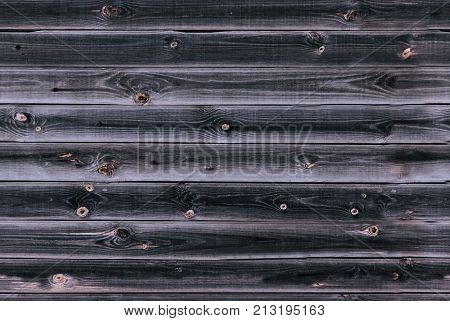 Wooden Lining Boards Wall. Dark Blue Violaceous Wood Texture. Background Old Panels, Seamless Patter