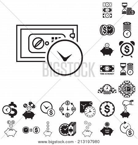 Save money and time is money business metaphor icon collection. Superannuation illustration. Future profit or beneficiary sign