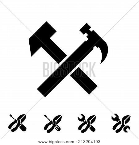 Service tool icons isolated on white background. Options illustration. Settings symbol with hummer