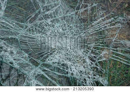 glass background with cracks on broken glass