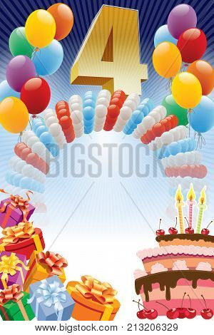 Background with design elements and the birthday cake. The poster or invitation for 4th birthday or anniversary.