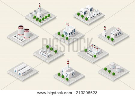 Vector set isometric icon of factory infrastructure element industrial landscape and garbage recycling plant with buildings and trees