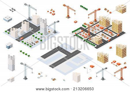 Flat 3d architectural set isometric creative planning web infographic vector. Skyscraper building sketch plan construction place builders crane process. Kit of lorry business innovation concept.