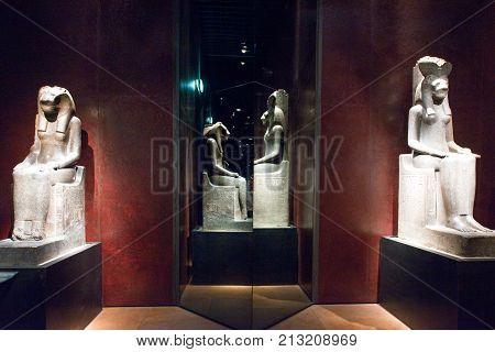 Turin Italy - June 6 2010: The staue hall of the Museo Egizio