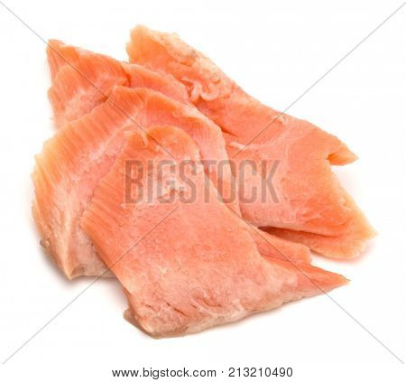 smoked salmon segments isolated on white background cutout. Prepared fish fillet fibres.