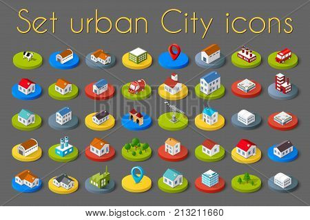 Isometric vector 3D icon city buildings for infographic concept set which includes house offices homes shop stores supermarkets and industrial elements