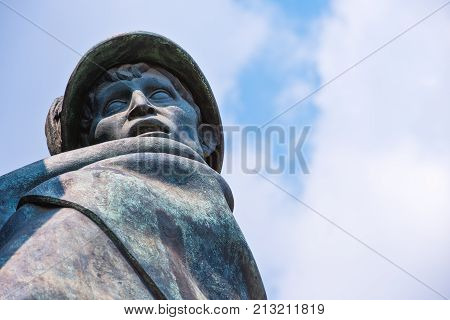 Turin, Italy -  June 24, 2010:  Castello square, detail of the monumental group in memory of the Duca D'Aosta