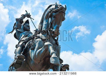 Turin, Italy -  June 24, 2010: The equestrian monument of Emanuele Filiberto in San Carlo square