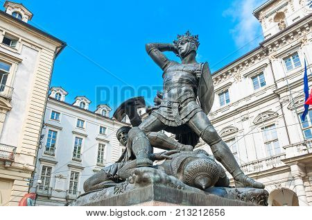 ItalyTurin the monument of the Verde Earl in townhall square