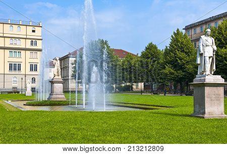 ItalyTurin Via Dei Mille gardens the monumental group of Daniele Manin