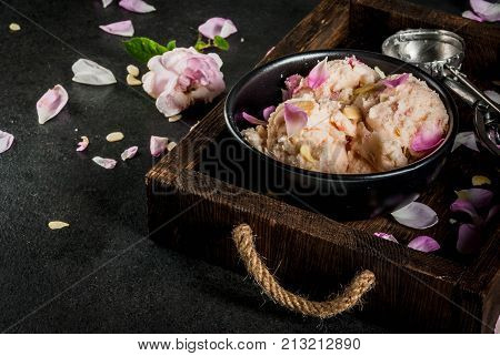 Ice Cream With Rose Petals