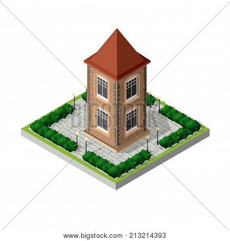 Retro isometric country house municipal infrastructure and city objects