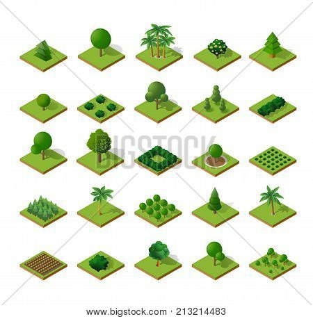 Set Isometric 3d trees forest camping nature elements white background for landscape design. Vector illustration isolated. Icons for city   games and your town