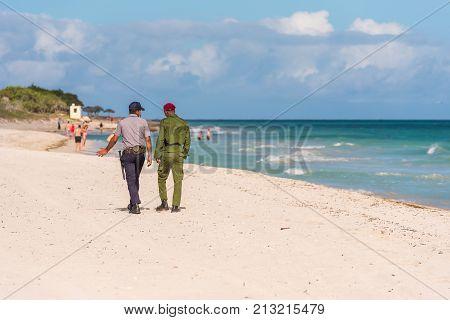 View Of The Sandy Beach, Varadero, Matanzas, Cuba. Copy Space For Text.