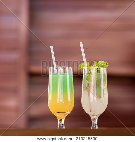 Two Glasses With A Cocktail, Varadero, Matanzas, Cuba. Copy Space For Text.
