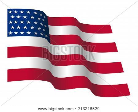 Waving Stars And Straps American Flag. Vector Illustration Of Flapping Flag Of United States Of America.