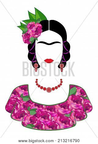 Frida Kahlo vector portrait , young beautiful mexican woman with a traditional hairstyle,  Mexican crafts jewelry, vector isolated